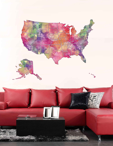 cik1863 Full Color Wall decal Watercolor Map united states living room bedroom for children