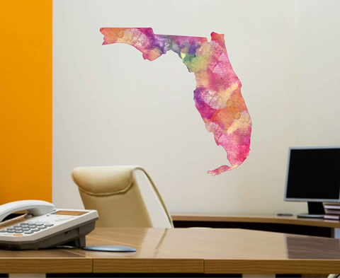 cik1887 Full Color Wall decal Watercolor Florida Orlando map living room bedroom