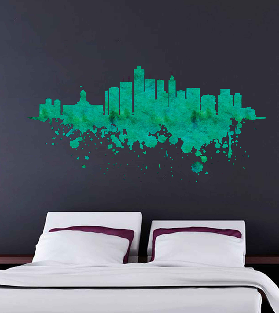 Cik1903 full color wall decal watercolor indianapolis city skyline liv stickersforlife