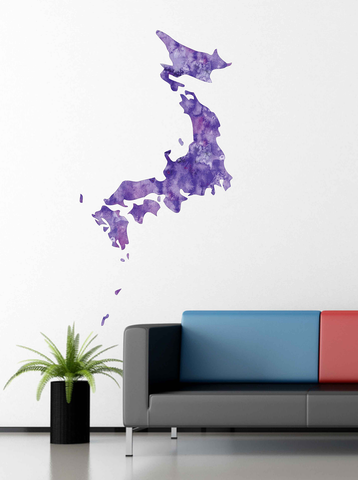 cik1913 Full Color Wall decal Watercolor Japan map living room bedroom