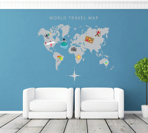 cik224 Full Color Wall decal Travel map room Bedroom
