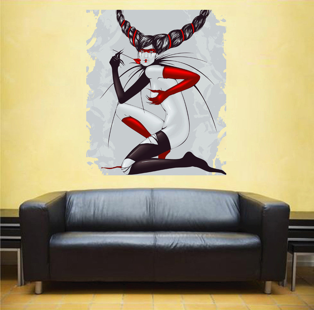cik235 Full Color Wall decal girl gloves mask stockings naked freak ...