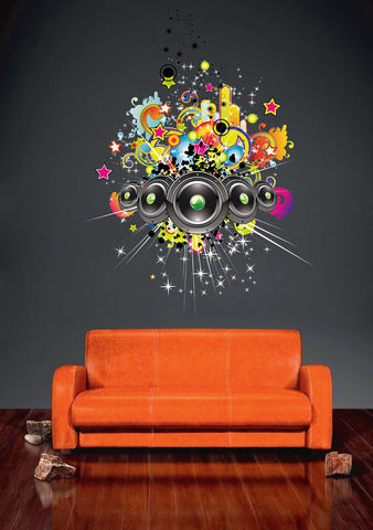 cik247 Full Color Wall decal Speakers Music Star Bright paint Bassy children's bedroom