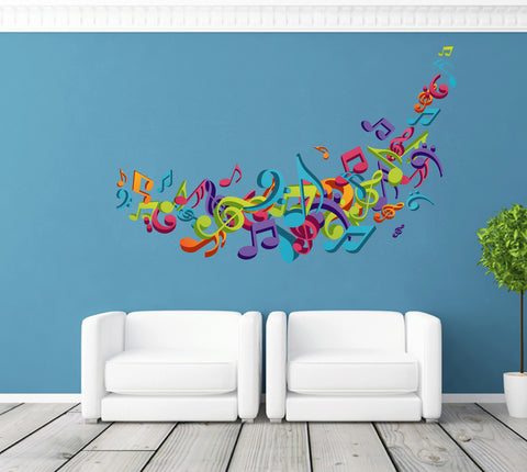 cik254 Full Color Wall decal Music notes bedroom living room children