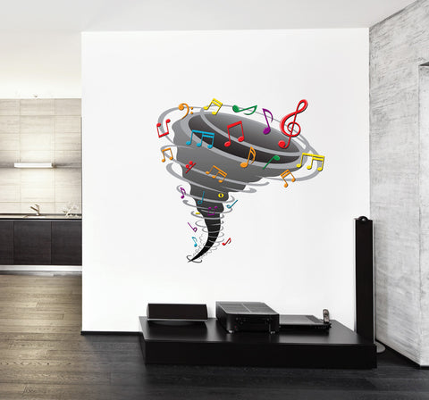cik255 Full Color Wall decal sheet music tornadoes bedroom living room children