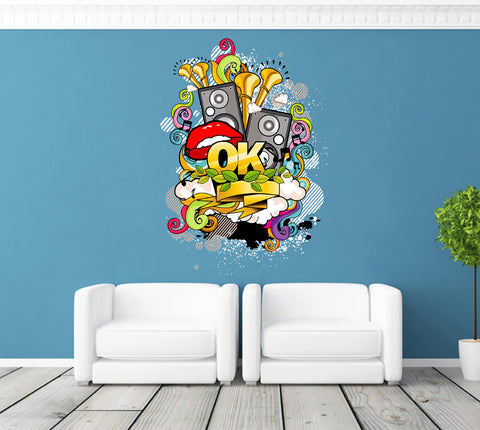 cik259 Full Color Wall decal music mouth bass speaker mix of pop rock room Bedroom