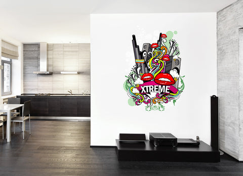 cik260 Full Color Wall decal music mouth bass speaker mix of pop rock room Bedroom