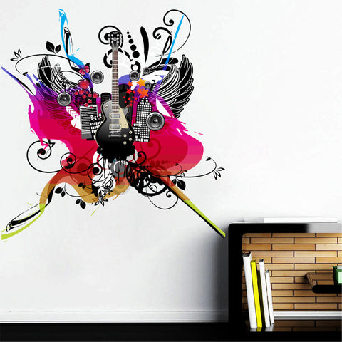 cik279 Full Color Wall decal music bass speakers wings paint pop rock bedroom living room