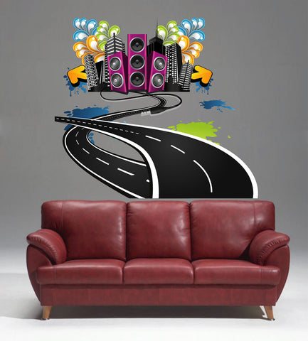 cik280 Full Color Wall decal Music City Road Column Rock Pop bedroom living room