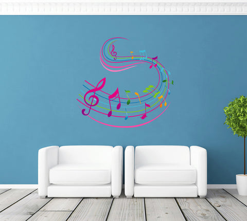 cik287 Full Color Wall decal treble clef music notes bedroom living room