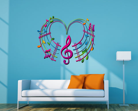cik288 Full Color Wall decal heart notes of the treble clef music bedroom living room