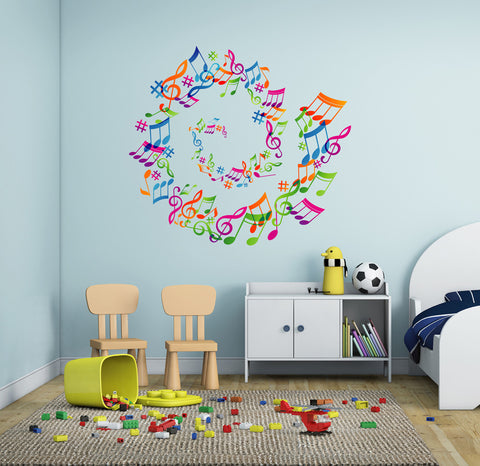 cik290 Full Color Wall decal treble clef music notes bedroom living room