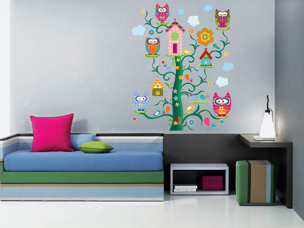 cik296 Full Color Wall decal owl tree bird birdhouse clouds children\'s  bedroom