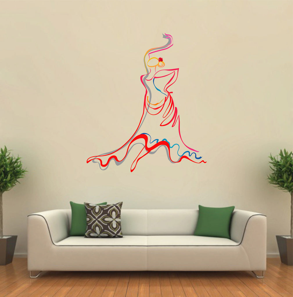 cik425 Full Color Wall decal Girl dancer Spanish dance school Dance bedroom
