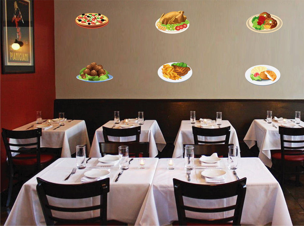 cik737 Full Color Wall decal different dishes chicken pizza pizzeria ...