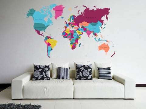 cik82 Full Color Wall decal world map living room bedroom children's room