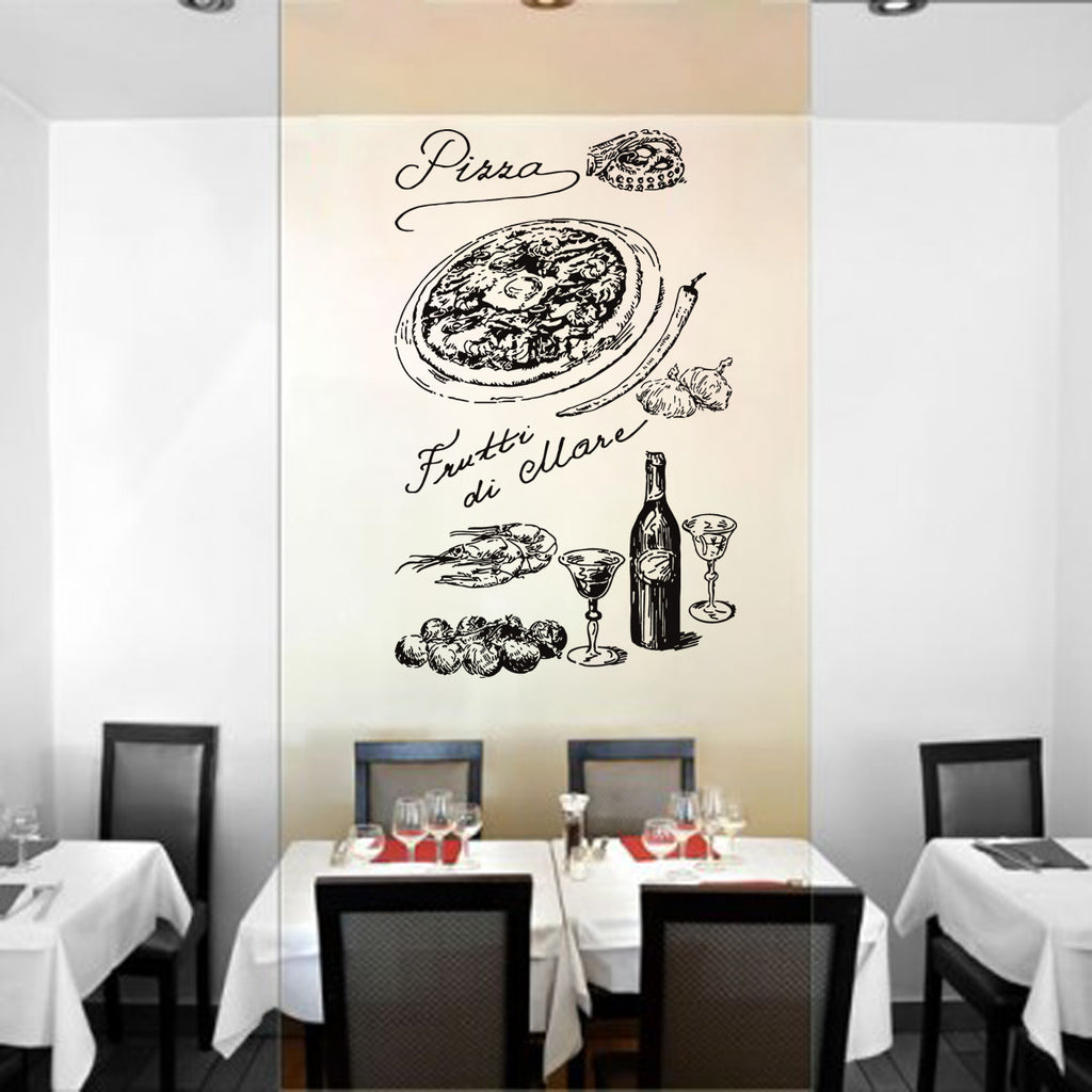 ik1023 Wall Decal Sticker pizza ingredients Pizzeria Italian Restaurant