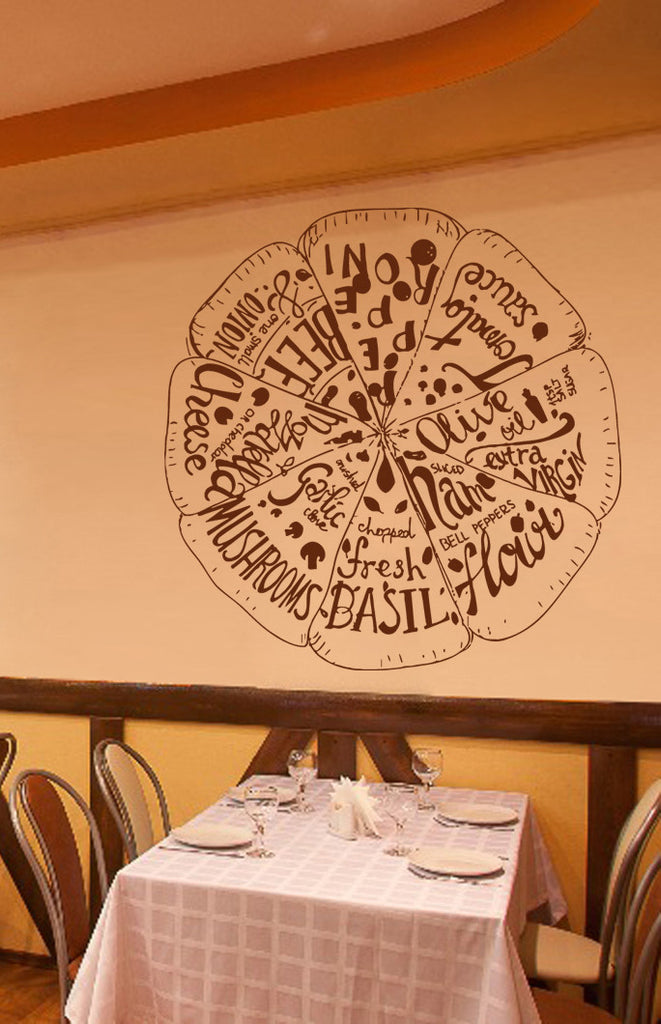ik1037 Wall Decal Sticker different varieties pizza Pizzeria Italian Restaurant