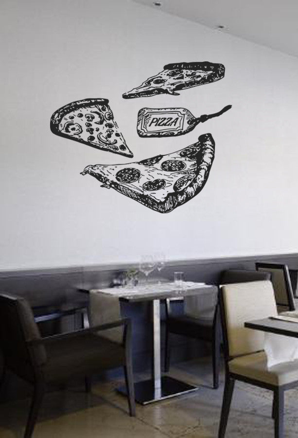 ik1039 Wall Decal Sticker different varieties pizza Pizzeria Italian Restaurant