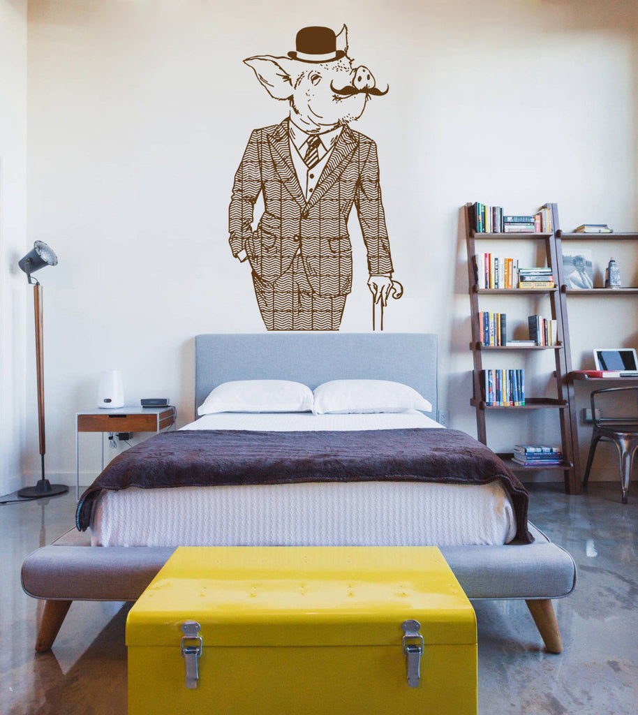 ik1078 Wall Decal Sticker fashion animal pig costume bedroom
