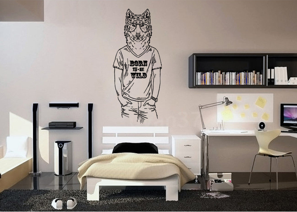 ik1083 Wall Decal Sticker fashion animal Wolf bedroom