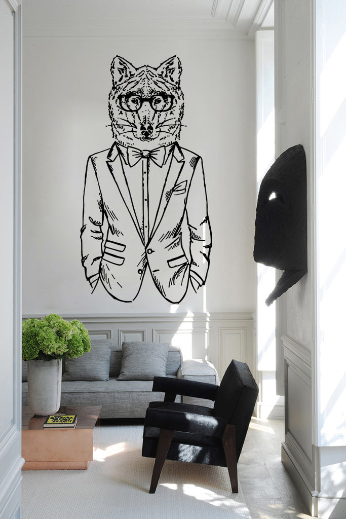 ik1085 Wall Decal Sticker wolf animal suit bedroom