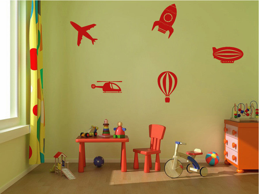 ik1178 Wall Decal Sticker aircraft rocket balloon airship helicopter kids room