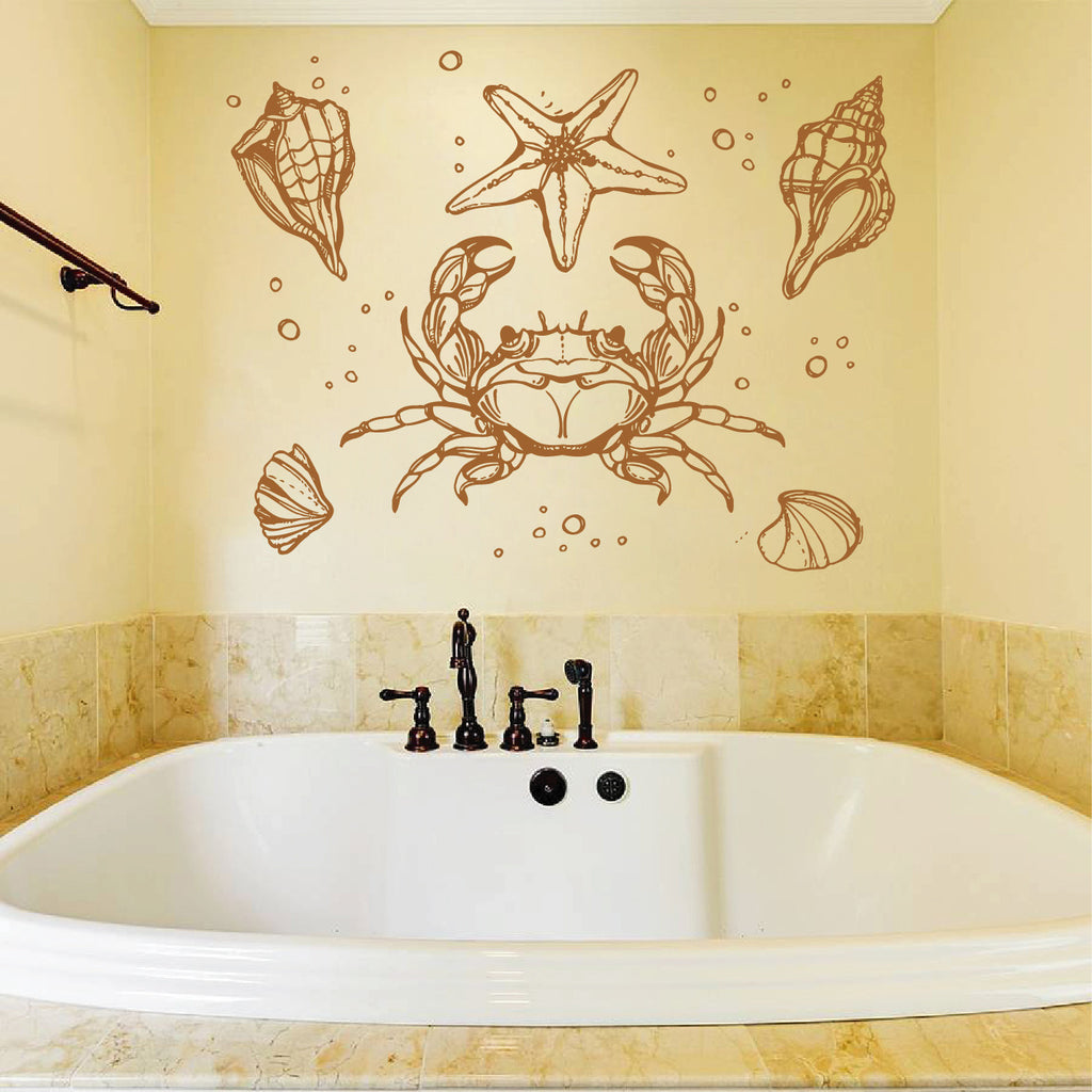 ik1195 Wall Decal Sticker Crab shells star marine animals bathroom