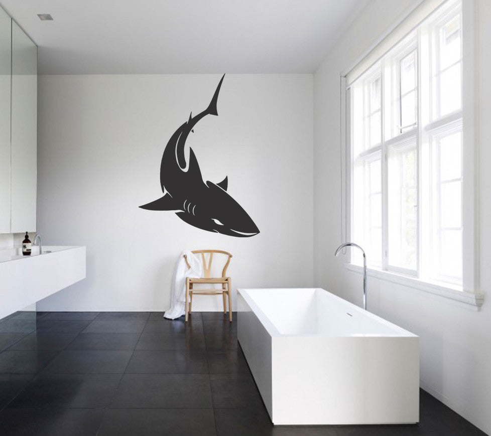 ik1214 Wall Decal Sticker shark fish bathroom