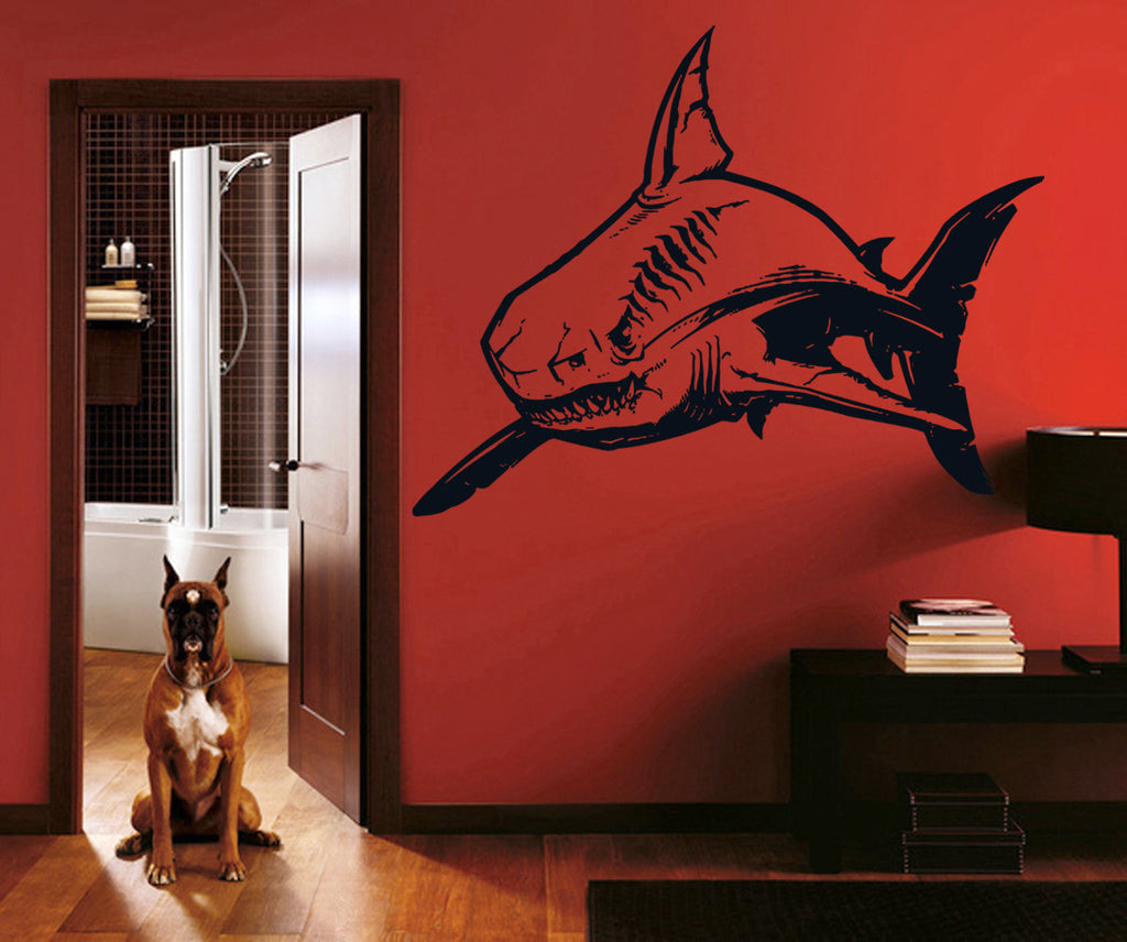 ik1217 Wall Decal Sticker white shark sea predator fish bathroom