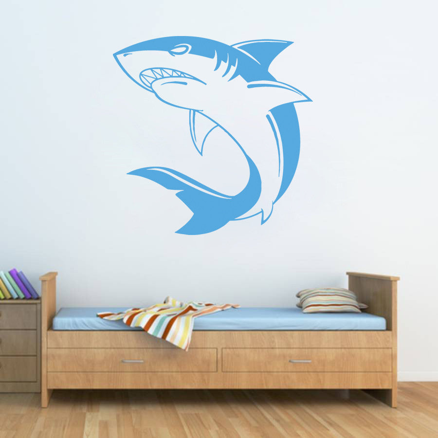 ik1219 Wall Decal Sticker white shark sea predator fish bathroom