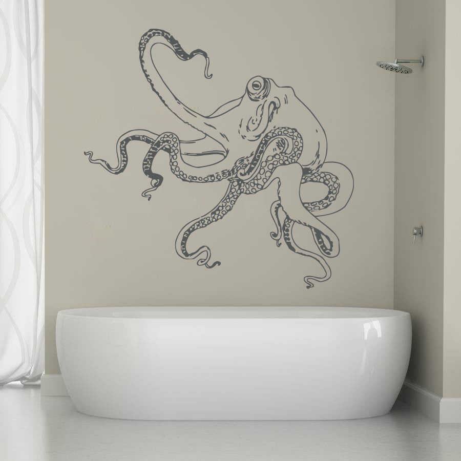 ik1224 Wall Decal Sticker octopus marine animals bathroom