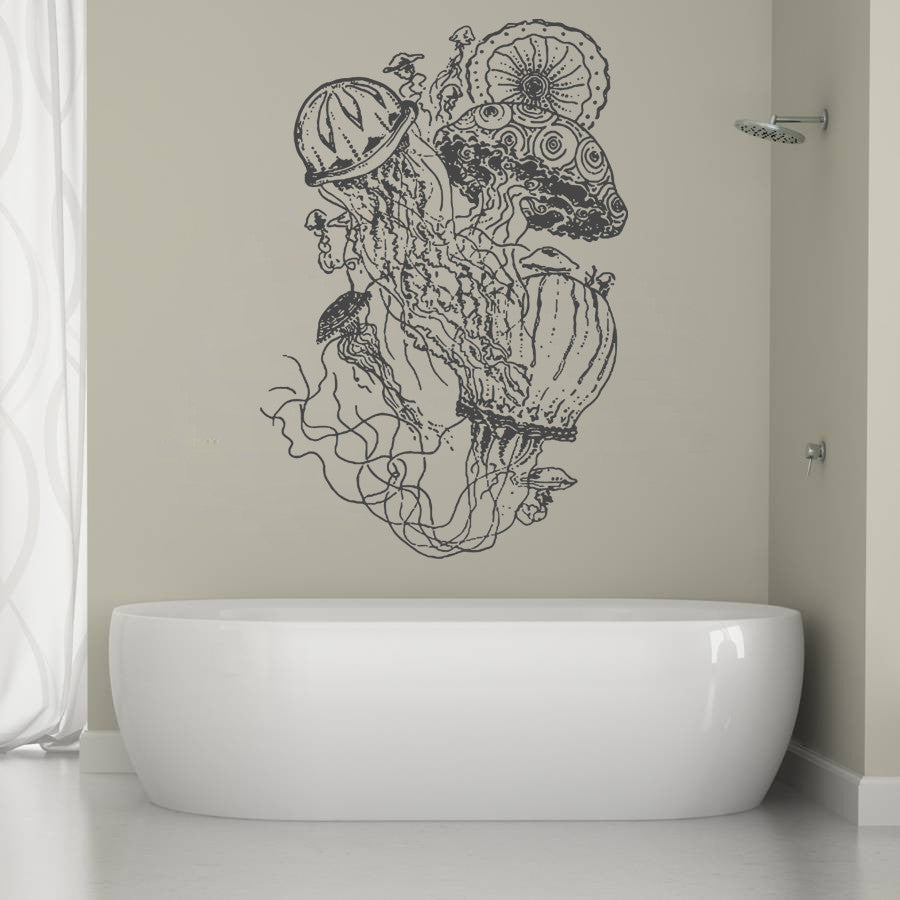 ik1229 Wall Decal Sticker Sea jellyfish bathroom