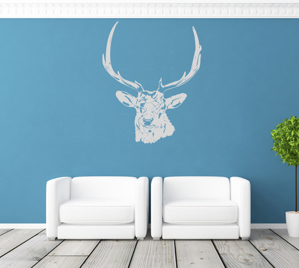 ik1239 Wall Decal Sticker deer head animal wood bedroom