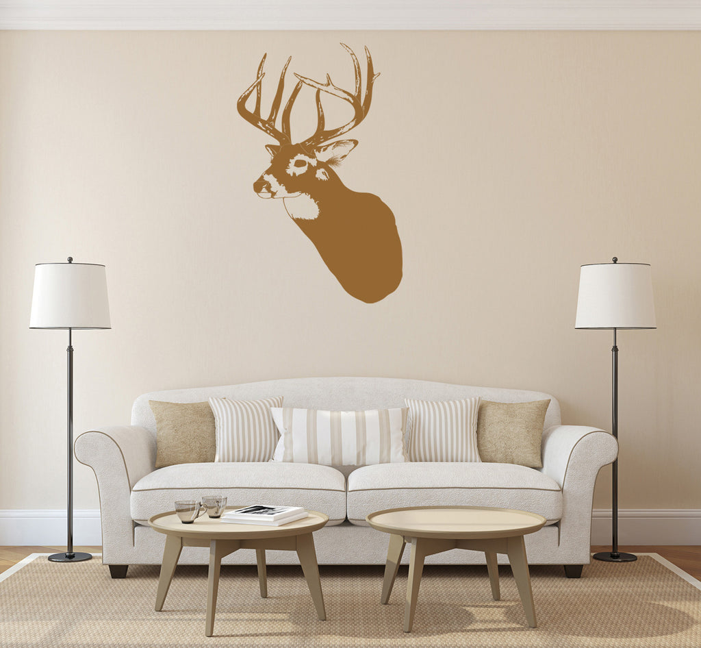 ik1240 Wall Decal Sticker deer head animal wood bedroom