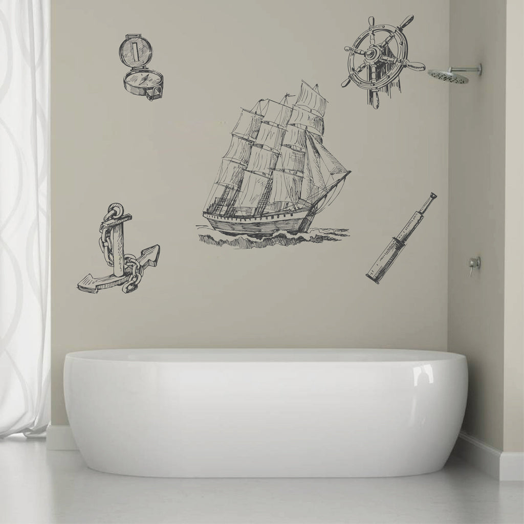 ik1250 Wall Decal Sticker ship frigate anchored helm compass telescope bedroom