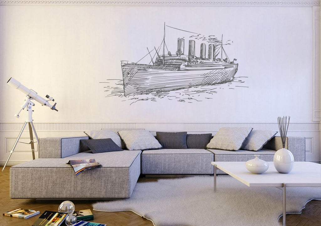 ik1256 Wall Decal Sticker boat ship sea bedroom bathroom