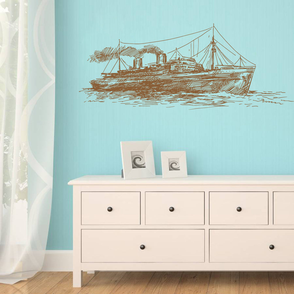 ik1260 Wall Decal Sticker boat ship sea bedroom bathroom