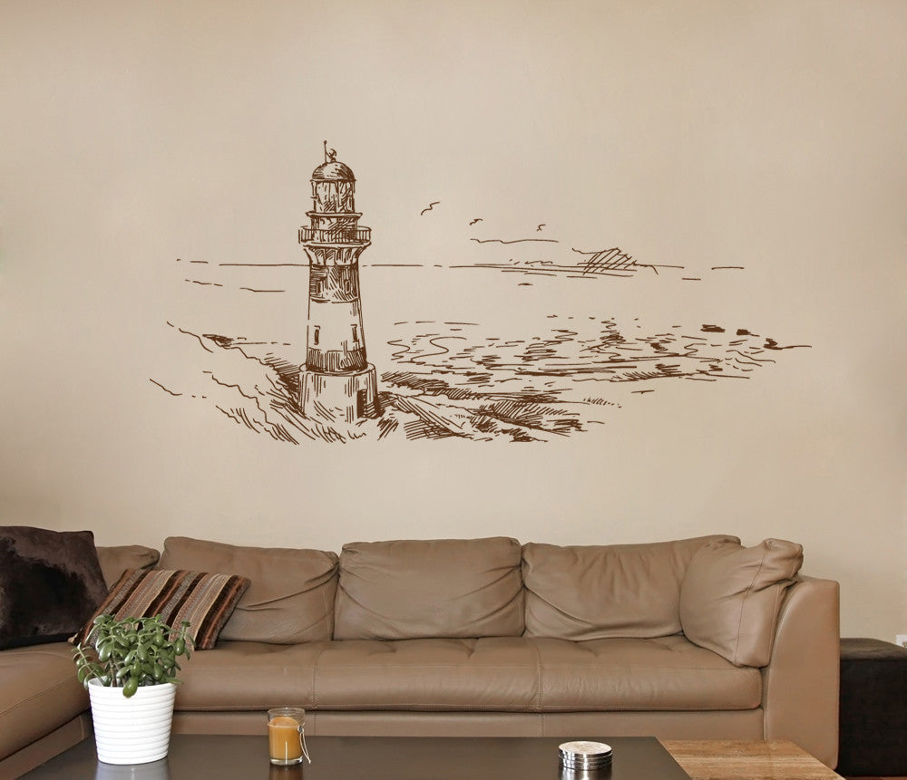 ik1269 Wall Decal Sticker lighthouse sea bedroom