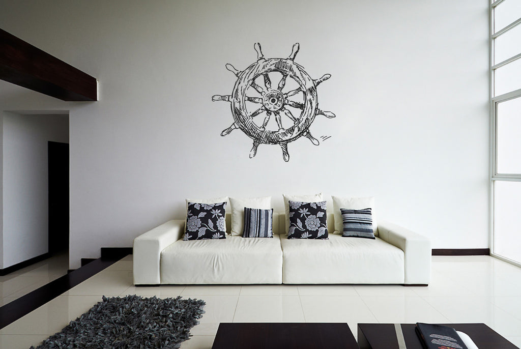 ik1270 Wall Decal Sticker wheel helm ship sea bedroom bathroom