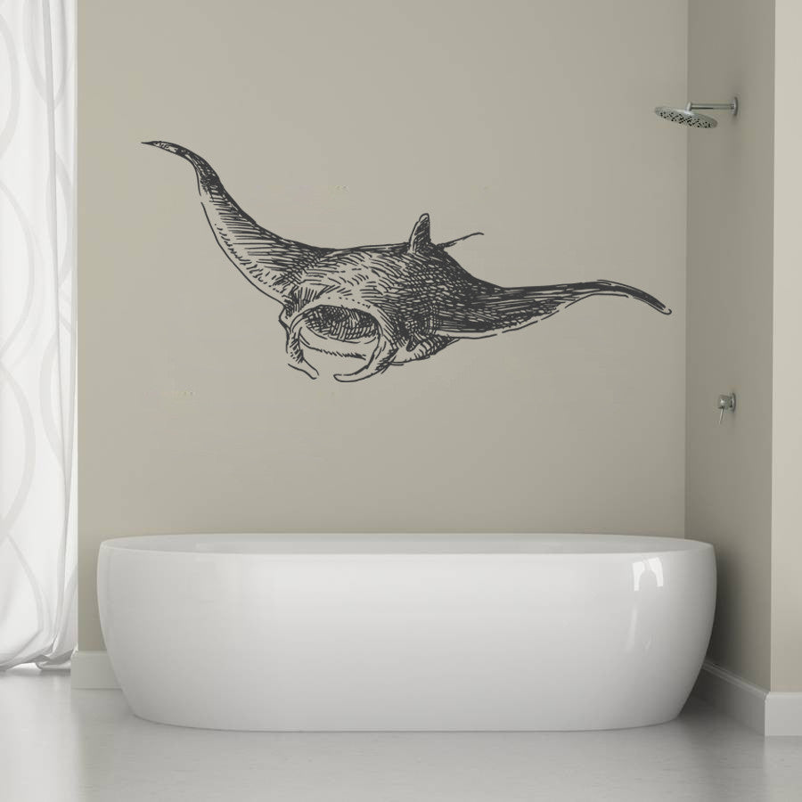 ik1272 Wall Decal Sticker stingray marine animals living bedroom bathroom