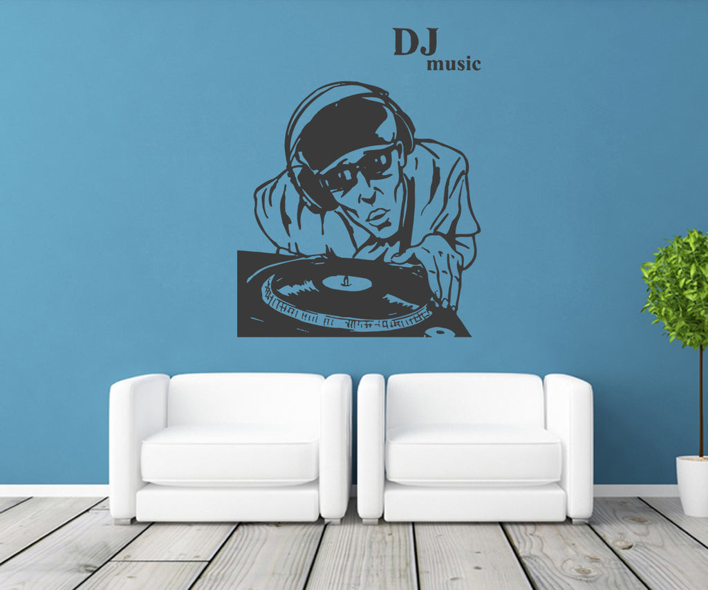 ik1319 Wall Decal Sticker DJ electronic music techno bedroom recording studio