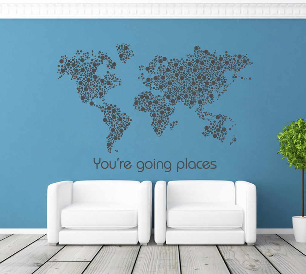 ik1343 Wall Decal Sticker world map Bedroom Living Room