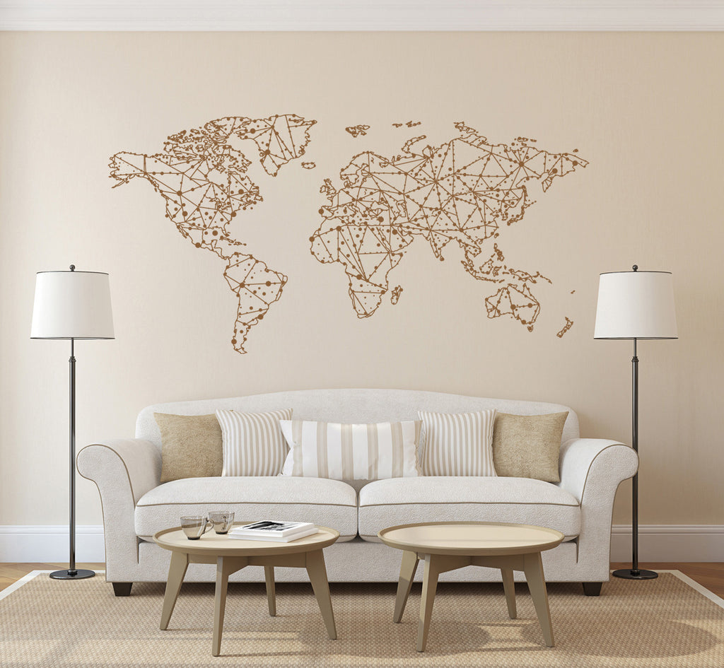 ik1344 Wall Decal Sticker world map Bedroom Living Room