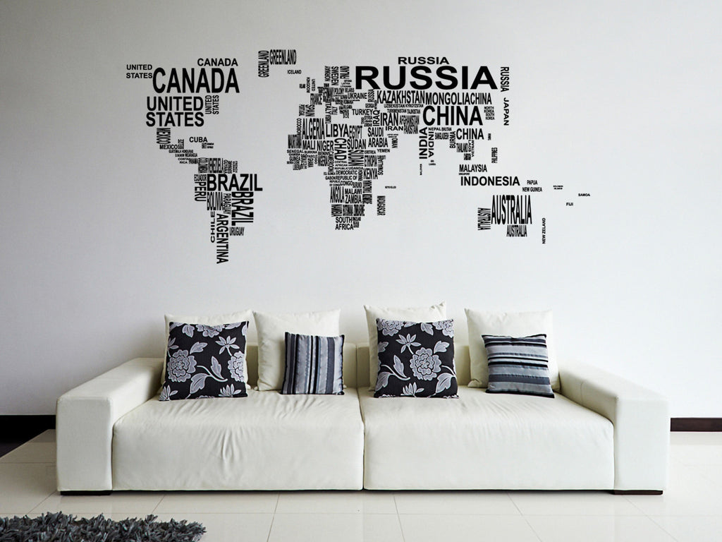 ik1347 Wall Decal Sticker world map Bedroom Living Room