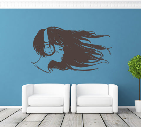 ik1361 Wall Decal Sticker Music headphones girl living room bedroom