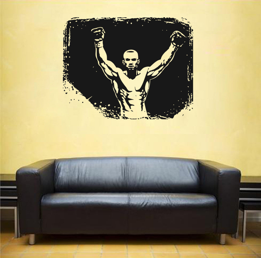 ik1380 Wall Decal Sticker kick boxing ring Gloves Tournament living room gym