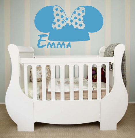 Ik139 Wall Decal Personalized Name Mickey Custom Head Mice Ears Mouse Custom