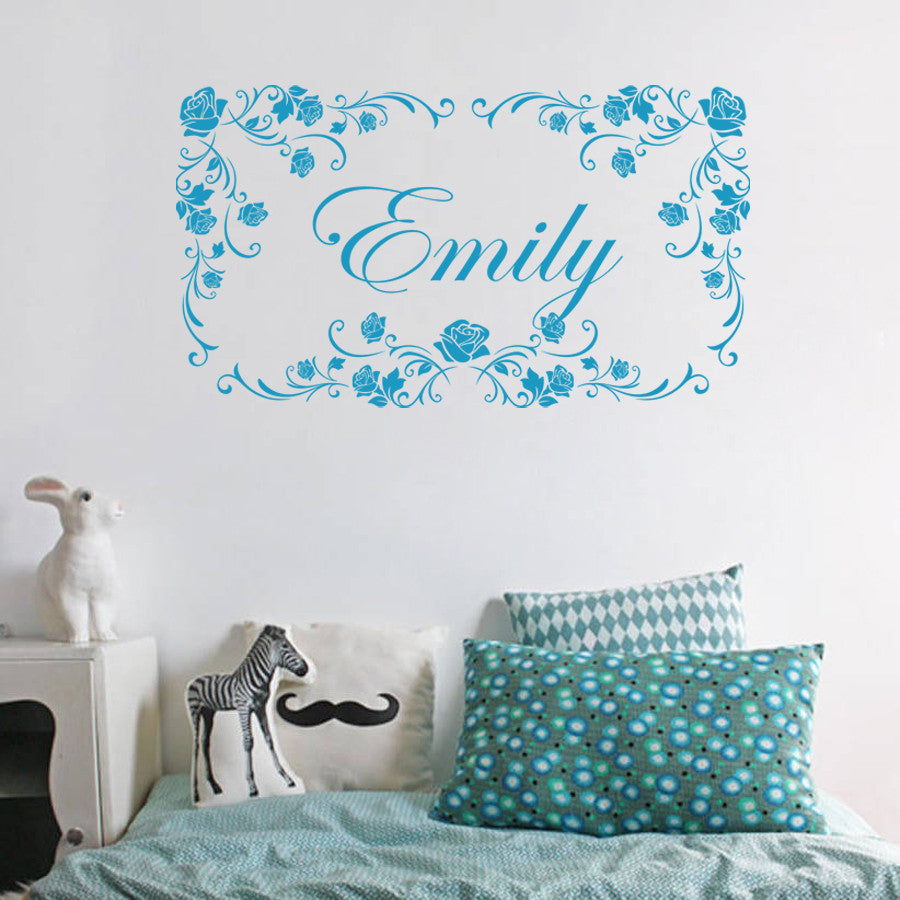 Ik1404 wall sticker decal words sign quote lettering custom name monogram frame