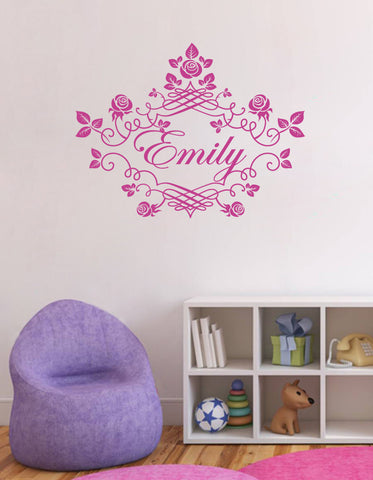 ik1405 Wall Sticker Decal Words Sign Quote Lettering Custom Name Monogram Frame